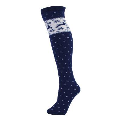 "Manbi Patterned Tube Sock 24"" Colour: NAVY / SIZE: ONE SIZE"