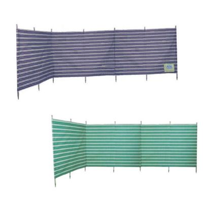 Blue Diamond 7 Pole Green Stripe Windbreak