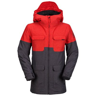 Volcom Blocked Insulated Jacket Boys Colour: GREY/RED / SIZE: 12 Y