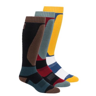 686 Mens Bruiser Sock 3 Pack Colour: MULTI COLOURED / SIZE: L/XL