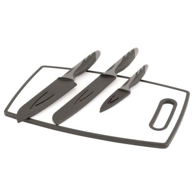 Outwell Caldas Knife Set W/Cutting Boards Colour: BLACK