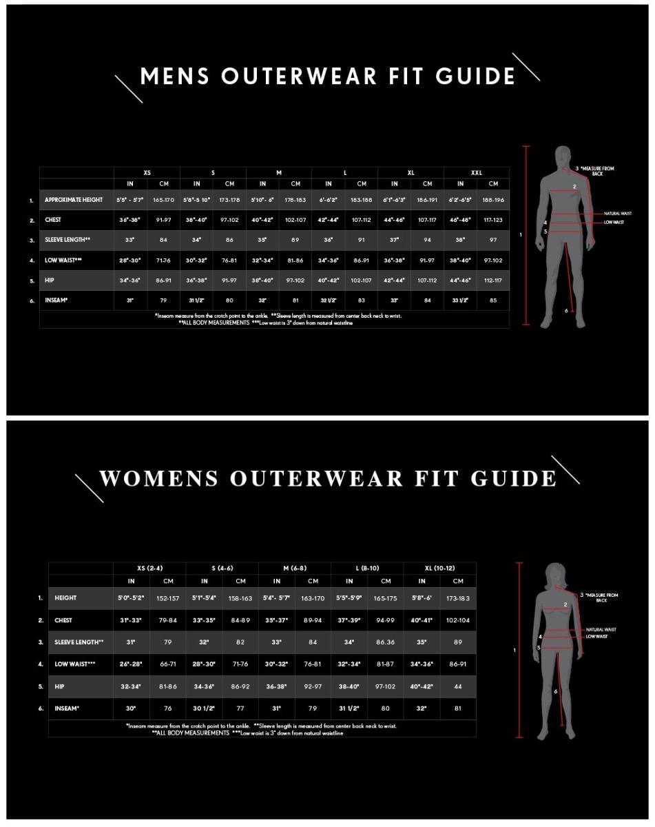686 Men's and Women's sizes