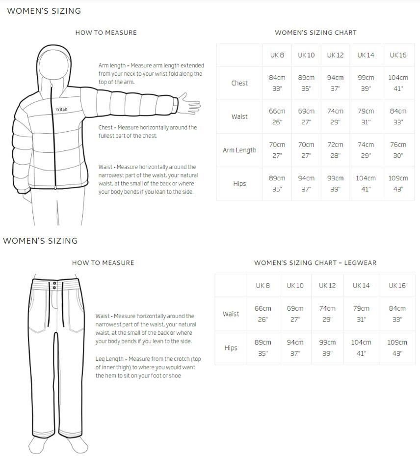 Rabs women's sizes